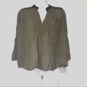 zara Basic olive green sheer embroidered Top XS